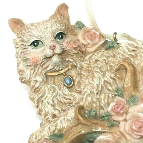 Persian Cat Charm Collar Fancy Figure Roses Christmas Ornament Glitter Victorian