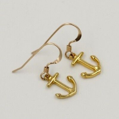 Nautical Anchor Dangle Earrings 14K Gold Filled