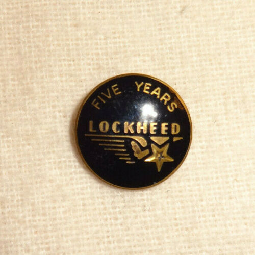 Vintage Lockheed 5 Year Service Pin 10K GF Gold Black Enamel