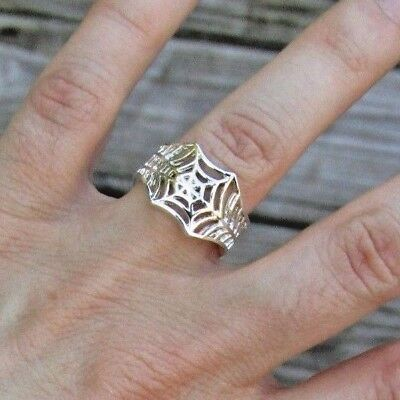 Halloween Spider Ring (Spider Web Ring - Adjustable Wrap Ring - Silver Pet Animal Halloween)