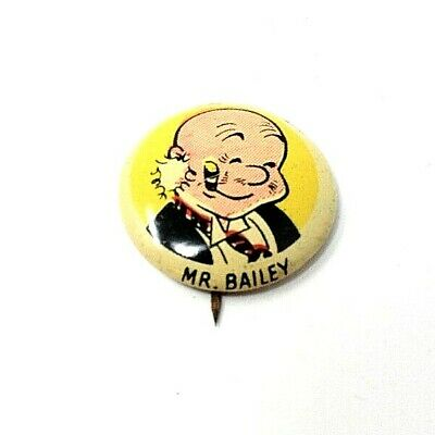 RARE VINTAGE 1940s KELLOGGS PEP CEREAL MR BAILEY CARTOON CHARACTER PREMIUM PIN