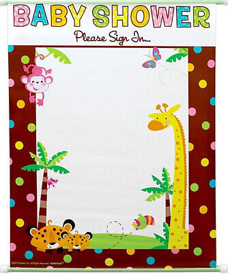 Fisher Price Animals of Rainforest BABY SHOWER SIGN-IN SHEET party supplies