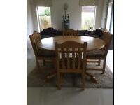 Solid Oak Round Dining Table and 8 Chairs
