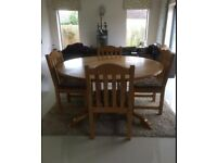 Oak Round Dining Table and 8 Chairs