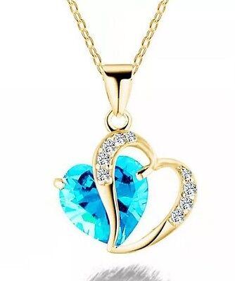 New Womens Crystal Rhinestone Aqua Blue   Gold Chain Double Heart Necklace