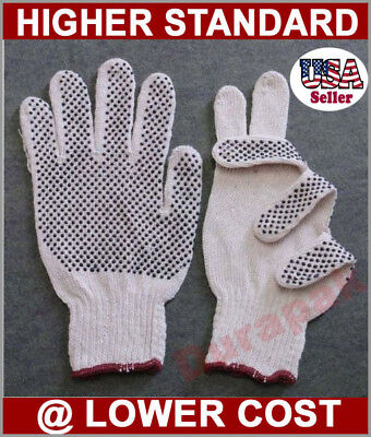 36 Pairs Cotton Poly Work Gloves Lg Extra Large W Pvc Dot Extra Grip White.