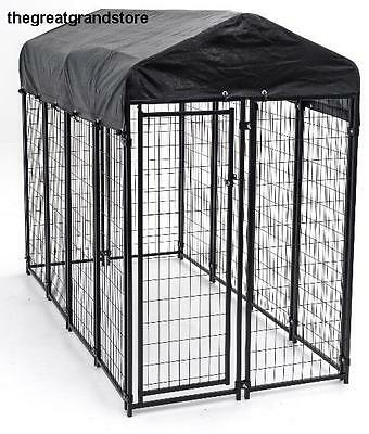 Outdoor Dog House Pet Cage Cat Shade Shelter Pen Wire Kennel Crate Canopy Setup