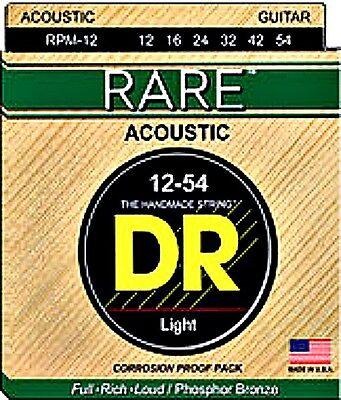 Rare Phosphor Bronze Acoustic Guitar -  2 SETS DR RARE ACOUSTIC  PHOSPHOR BRONZE GUITAR STRINGS 12- 54 LIGHT