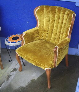 Older Queen Anne Style Gold Velvet Chair with Wood Legs