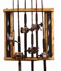 6 rod horizontal vertical rod holder fishing poles cabin for Fishing rod holders for home