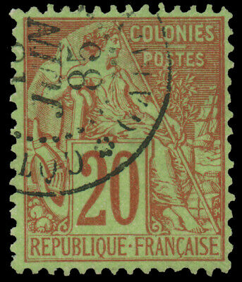 """FRENCH COLONIES GENERAL ISSUES 1881 20c RED  YELLOW GREEN WITH """"COTE D'OR ET GAB"""