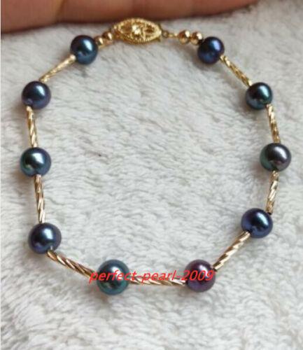 "7"" Gorgeous 5-6mm AAA+ tahitian black round pearl bracelets 14k  gold"