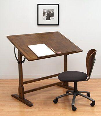 Solid Oak Drafting Table - 42 in Vintage Drafting Table Solid Wood Rustic Oak Finish by Studio Designs
