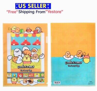 2 Pcs Sanrio Gudetama A4 Letter Size Plastic Folder Envelope Organizer Japan