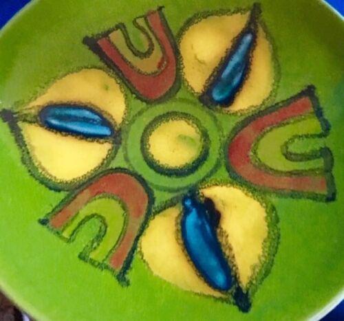 "Poole Delphis 8"" Plate #3 Avocado Green Artist Signed Glaze Art Pottery MCM"