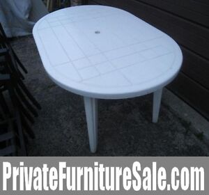 White Plastic oval Patio Table in good condition