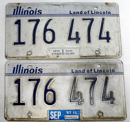 VINTAGE 1987 PAIR OF ILLINOIS LICENSES PLATE # 176 474