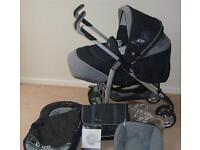 Silver Cross 3D travel system (newborn to 4yrs) including car seat, footmuffs, hoods and rain cover