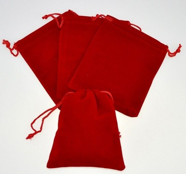 """12 Small RED GIFT Jewelry Drawstring Bags 2-1-/2"""" x 3"""" Flocked Velveteen Pouch"""