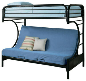 New Metal Black C Shaped Single Futon Bunk Bed