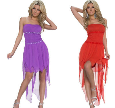 Sexy Chiffon-Minikleid Cocktail-Kleid Abend-Kleid Party Gr. 34/36 Lila Rot