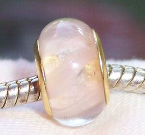 Pale Pink Murano Glass Gold Plated Core Bead for European Style Charm Bracelets