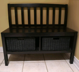Entry Bench with Two Storage Bins
