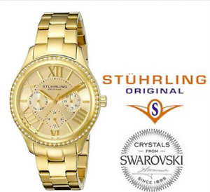 Stuhrling Original Women's Swarovski Crystal studded bezel watch