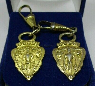 TWO Vintage authentic Gucci golden metal luggage purse zipper pulls