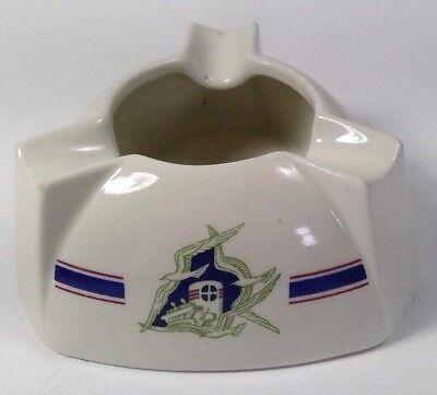vintage ashtray ceramic nautical stripe ship seagulls triangular pyramidal