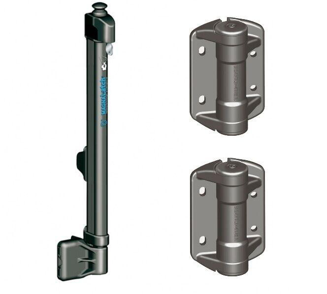 magna tru close kit swimming pool gate latch top pull hinge pair
