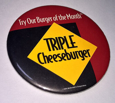 MCDONALDS Try Our Burger Of The Month TRIPLE CHEESEBURGER vintage PINBACK Button