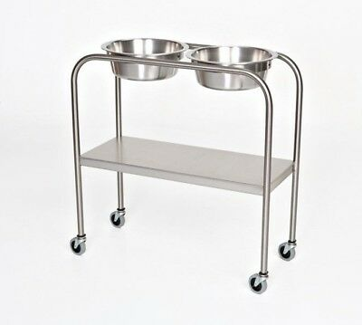 Ac742 Stainless Steel Solutionring Stand Double 7qt Basins With Bottom Shelf