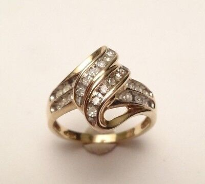 10k SOLID YELLOW GOLD DIAMOND PAVE COCKTAIL BEAUTIFUL RING SIZE 7 ()