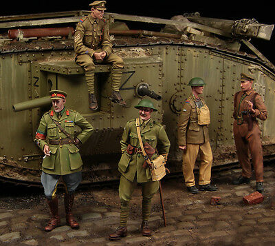 1:35 WW1 British Tank Crewman High Quality Resin Big Set 5 Figures Free Shipping