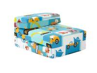 Kids Digger Design Foam Fold Out Sleep Over Guest Single Futon Z Bed
