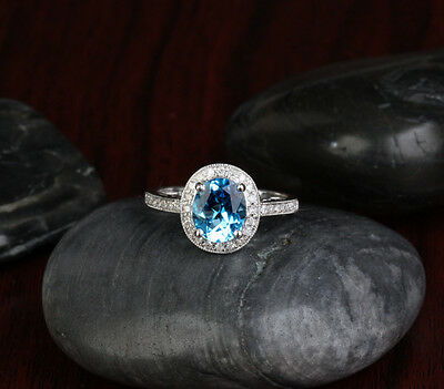 Blue Topaz Milgrain Ring - 2.17ct Blue Topaz Gem .22ct Diamond 14K White Gold Halo Engagement Milgrain Ring