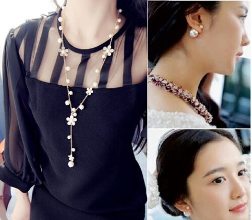 COMBO Double Ball Stud Earrings + Simulated Pearl Chain Pendant Necklace Set available at Ebay for Rs.9333