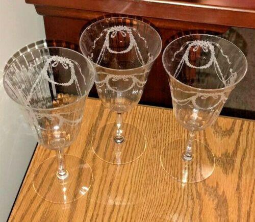 "3 Rare  Fostoria Garland Water Goblets, 6 7/8"" Tall"