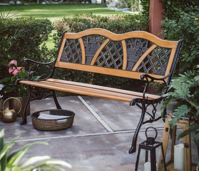 Garden Furniture - Outdoor Wood Garden Bench Porch Metal Vintage Country Rustic Furniture Seat