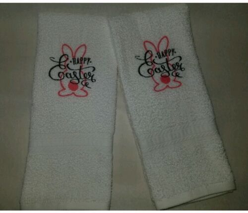 CUSTOM - HAPPY EASTER BUNNY OUTLINE EMBROIDERED BATH HAND TO
