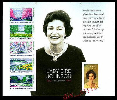 2012 Lady Bird Johnson Souvenir Sheet No Diecuts Imperf Scott #4716g