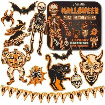 Decorations Die Cut BEISTLE HALLOWEEN Mini Decorations Glow in Dark Tin Box  - Dark Halloween Decorations