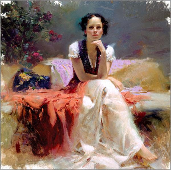 """Pino """"First Glance"""" Just Thinking- Sold out Embellished Giclee Canvas Hand S#"""