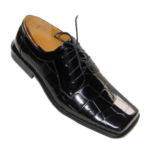 Men/'s Shiny Crocodile Print Man Made Leather Dress Shoes 3067D Black Brown White