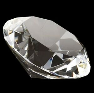 80mm Clear Crystal Diamond Shape Paperweight Glass Gem Display Gift Ornament 8cm
