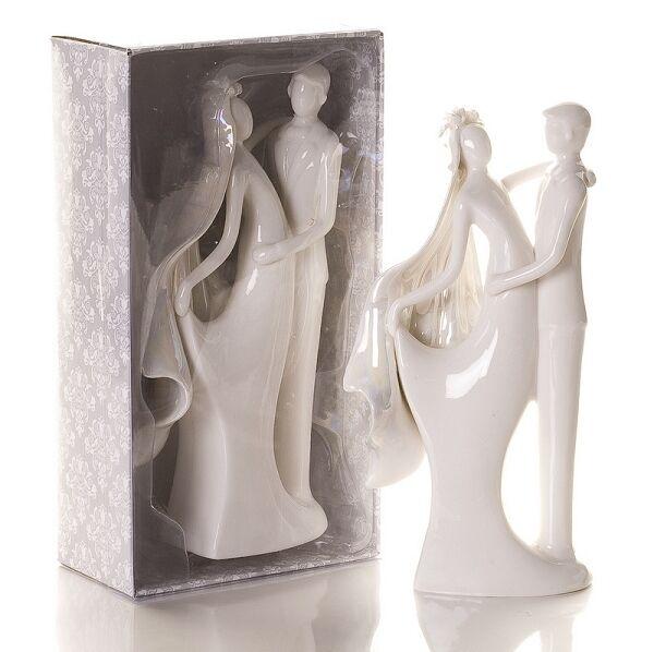 White Porcelain Elegant Bride & Groom Figurine Wedding Cake Topper SF