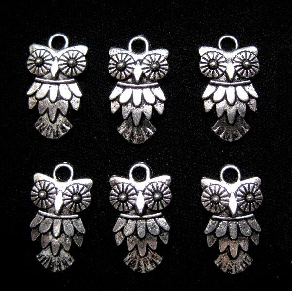 Owl Charms Antiqued Silver Pendants 20mm Jewelry Lot of 6