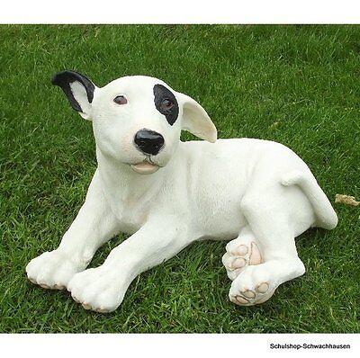 Gartenfigur Pitbull Hund 3691 liegend Bullterrier Garten Deko lebensecht Figur ()