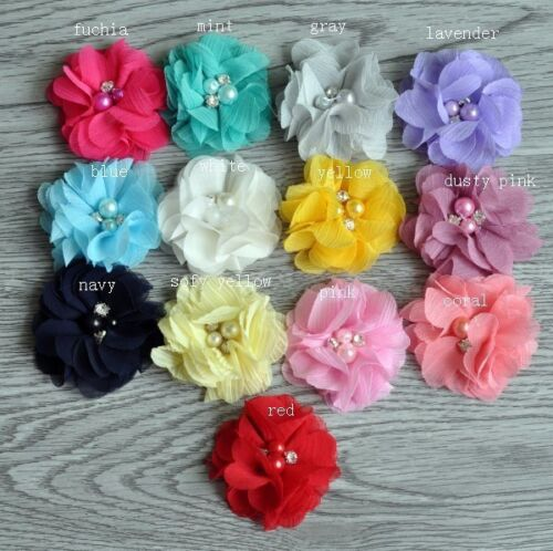 """30pcs 2"""" Hair Accessories Fabric Chiffon Flower With Pearls For Headbands"""